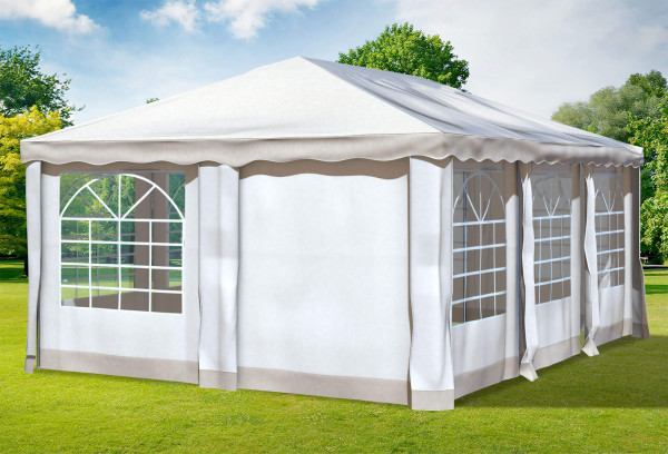 4x6 m Pavillon, Polyester PVC Deluxe braun
