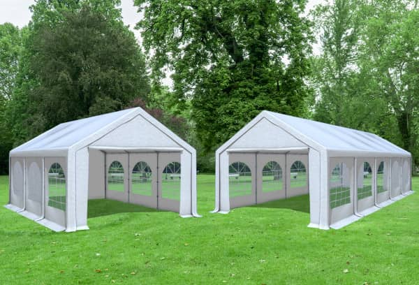 4x10 m 2in1 Kombizelt mit extra 4x6 m Dach, PVC weiß