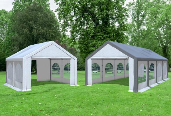 4x8 m 2in1 Kombizelt mit extra 4x4 m Dach, PVC grau weiß
